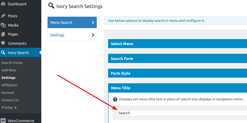 Display Text Instead Of Menu Search Icon - Ivory Search