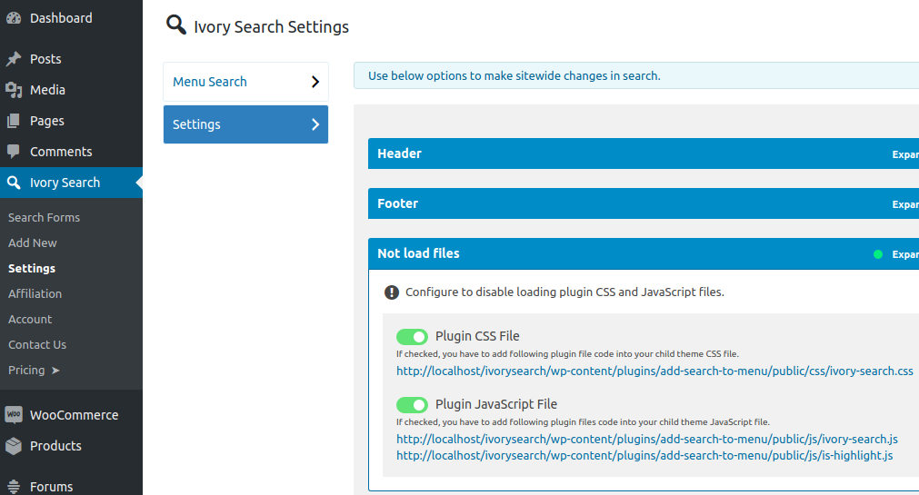 Disable Plugin CSS and JavaScript Files - Ivory Search